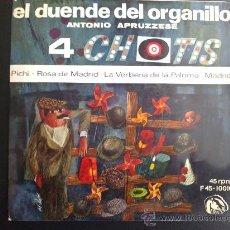 Discos de vinilo: ANTONIO APRUZZESE, EL DUENDE DEL ORGANILLO - 4 CHOTIS - PICHI - EP DE VINILO. Lote 30760685