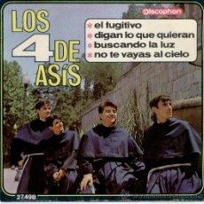 Discos de vinilo: LOS 4 DE ASIS - EL FUGITIVO - DIGAN LO QUE QUIERAN + 2 - EP SPAIN 1966 EX / EX. Lote 30817724
