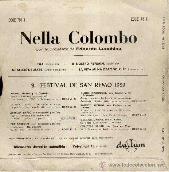Discos de vinilo: NELLA COLOMBO - TUA + 3 EP - Foto 2 - 104008955