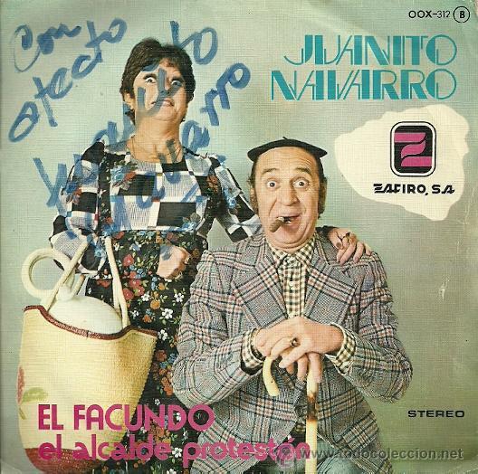 JUANITO NAVARRO SINGLE SELLO ZAFIRO AÑO 1976 EDITADO EN ESPAÑA (Música - Discos - Singles Vinilo - Bandas Sonoras y Actores)