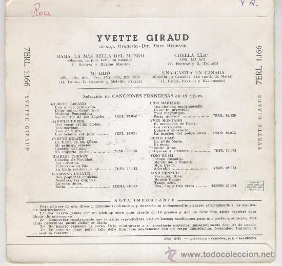 Discos de vinilo: YVETTE GIRAUD MAMA, LA MAS BELLA DEL MUNDO - UNA CASITA EN CANADA -+ 2 EP SPAIN 1958 VG+ / VG++ - Foto 2 - 31072240