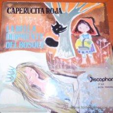 Discos de vinilo: SINGLE DE CUENTOS CAPERUCITA ROJA Y LA BELLA DURMIENTE DEL BOSQUE, DE 1960. Lote 31072798