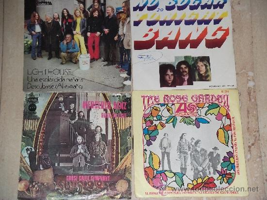 LOTE DE CUATRO SINGLES- BANG / LIGHTHOUSE / THE ROSE GARDEN / GOOSE CREEK SYMPHONY (Música - Discos - Singles Vinilo - Pop - Rock - Extranjero de los 70)