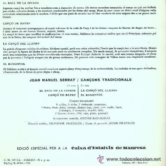 Discos de vinilo: JOAN MANUEL SERRAT , CANÇONS TRADICIONALS - Foto 2 - 31135648