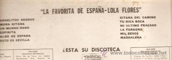 Discos de vinilo: LP LOLA FLORES : LA FAVORITA DE ESPAÑA - EDITADO EN ESTADOS UNIDOS - Foto 3 - 31236999