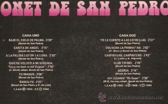 Discos de vinilo: LP BONET DE SAN PEDRO - ASI CANTA - Foto 2 - 31237052
