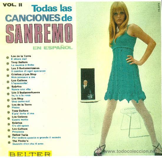 TODAS LAS CANCIONES DE SAN REMO EN ESPAÑOL (VINILO LP 1967) (Música - Discos - Singles Vinilo - Canción Francesa e Italiana)