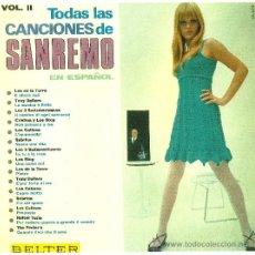 Discos de vinilo: TODAS LAS CANCIONES DE SAN REMO EN ESPAÑOL (VINILO LP 1967). Lote 31271707