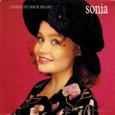 Discos de vinilo: SONIA ··· LISTEN TO YOUR HEART / BETTER THAN EVER (SINGLE 45 RPM) ··· NUEVO. Lote 31325270