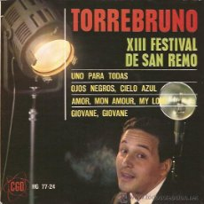 Discos de vinilo: EP-TORREBRUNO-HISPAVOX 7724-1963-FESTIVAL DE SAN REMO. Lote 31336978