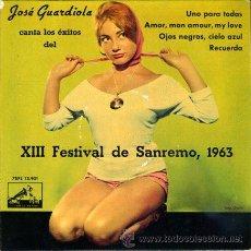 Discos de vinilo: DISCO DE VINILO - JOSE GUARDIOLA - XIII FESTIVAL DE SANREMO - AÑO 1963. Lote 31382462