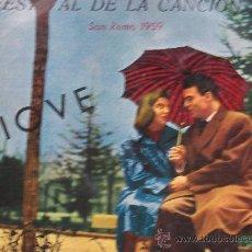 Disques de vinyle: 9º FESTIVAL DE LA CANCION,SAN REMO 1959(VARIOS) VINILO DE 10 PULGADAS. Lote 31385897
