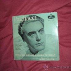 Discos de vinilo: MARIO DEL MONACO CLARA PETRELLA EP PAGLIACCI-LEONCAVALLO- DECCA SPA. Lote 31399655