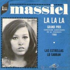 """Discos de vinilo: MASSIEL - SINGLE VINILO 7"""" - EDITADO EN FRANCIA - LA, LA, LA (EUROVISIÓN-1968) + 1 - AZ - AÑO 1968. Lote 31405765"""