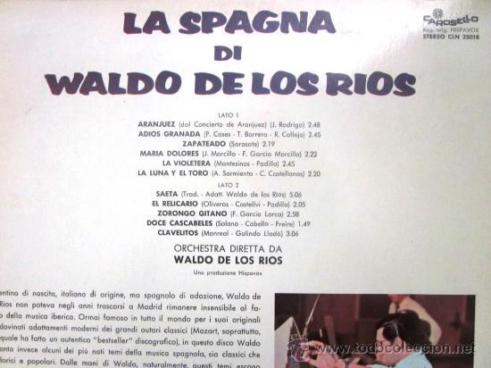 Discos de vinilo: WALDO DE LOS RÍOS - LA SPAGNA DI WALDO DE LOS RÍOS - Edición italiana - 1972 - Foto 2 - 27135420