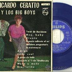 Discos de vinilo: RICARDO CERATTO Y LOS BIG BOYS TWIST EN BENIDORM EP PHILIPS VINILO AZUL + LENGÜETA ¡A ESTRENAR!. Lote 31705573