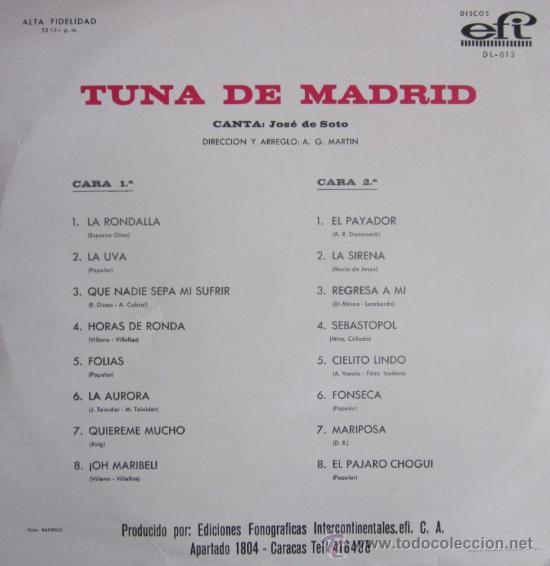 Discos de vinilo: TUNA DE MADRID (Solista: José de Soto) - Editado en Venezuela - Foto 3 - 31721528
