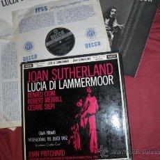 Discos de vinilo: LUCIA DI LAMMERMOOR JOAN SUTHERLAND CAJA 3 LPS LIBRETO ECT. DECCA SPA 1961 VER FOTO. Lote 31736031