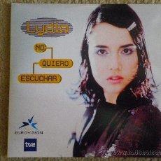 Discos de vinilo: LYDIA NO QUIERO ESCUCHAR CD SINGLE PROMOCIONAL TEMA DEL FESTIVAL DE EUROVISION AÑO 1999 2 TEMAS . Lote 151079868