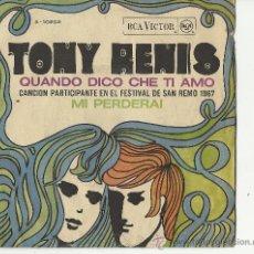Discos de vinilo: TONY RENIS.FESTIVAL DE SAN REMO 1967. Lote 31745209