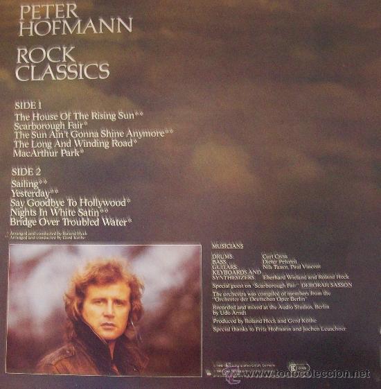 Discos de vinilo: LP DE PETER HOFMANN ROCK CLASSICS EDIC. ALEMANA - Foto 2 - 31750616