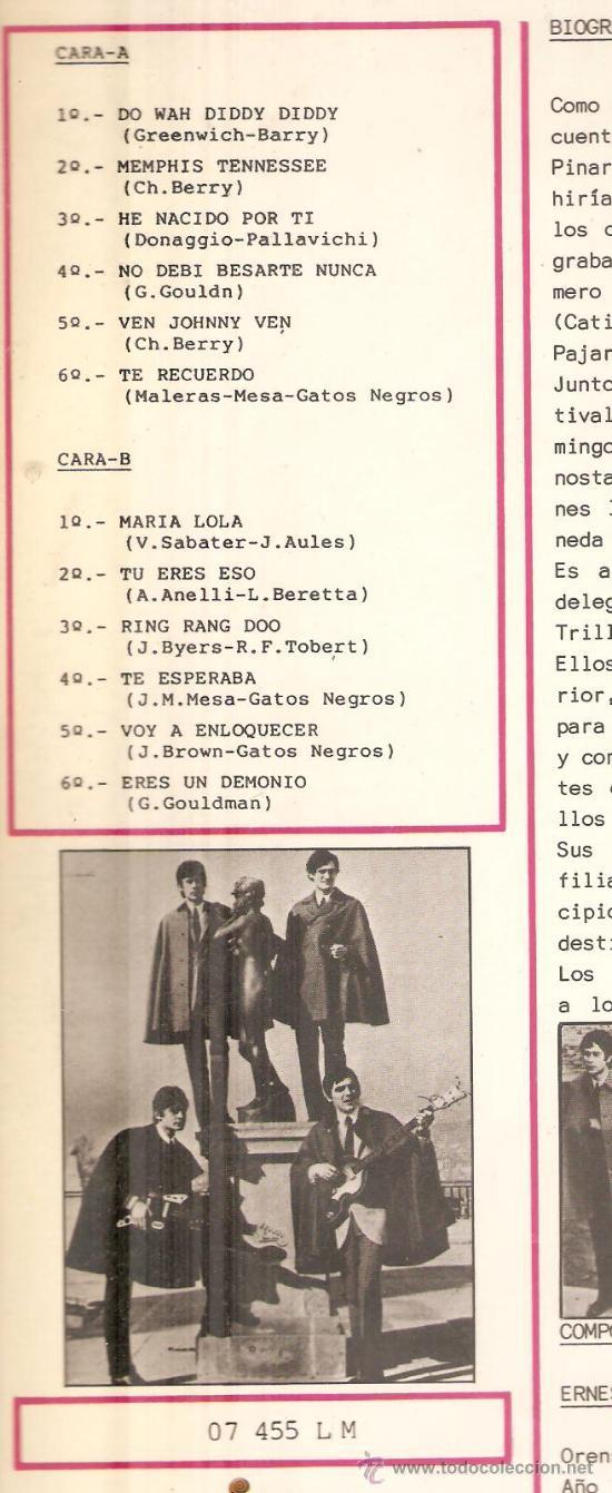 Discos de vinilo: LP LOS GATOS NEGROS - VOL.2 - Foto 2 - 31761352