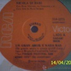 Discos de vinilo: CINCO SENCILLOS ARGENTINOS DE NICOLA DI BARI CANTADOS EN ESPAÑOL. Lote 27565017