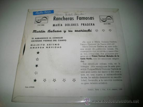 Discos de vinilo: MARIA DOLORES PRADERA Rancheras famosas EP (1960 ZAFIRO) - Foto 2 - 31921771