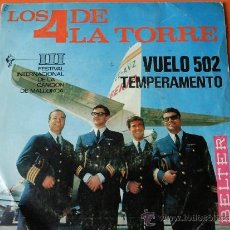 Discos de vinilo: LOS CUATRO DE LA TORRE VUELO 502-TEMPERAMENTO SINGLE BELTER 1966. Lote 31842506