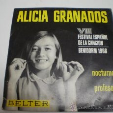 Discos de vinilo: ALICIA GRANADOS-NOCTURNO-SINGLE.VIII FESTIVAL ESPAÑOL DE LA CANCION-BENIDORM 1966-1169 9. Lote 31863351