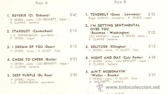 Discos de vinilo: LP MELODIES SUR L´OREILLES (MELODIC JAZZ) - LOU BENNETT, KENNY CLARK, ROGER GUERIN, PIERRE SPIERS - Foto 3 - 31883193