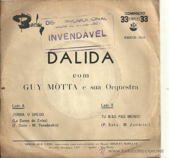Discos de vinilo: DALIDA SINGLE SELLO RGE EDICCIÓN BRASILEÑA - Foto 2 - 31935056