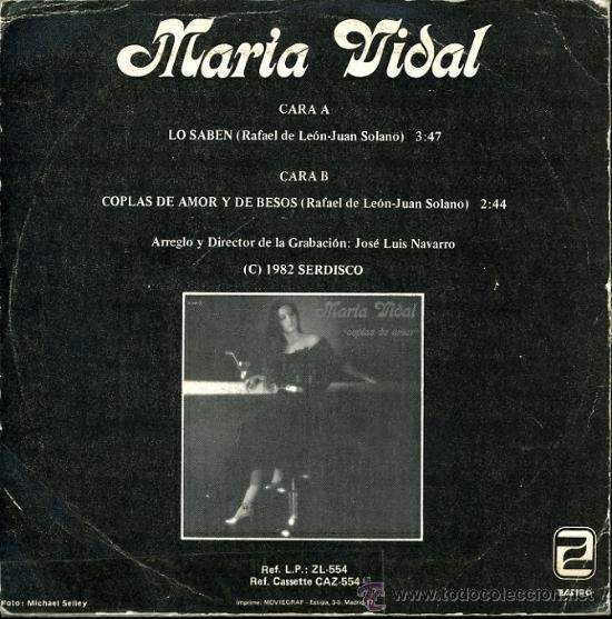 Discos de vinilo: MARIA VIDAL. LO SABEN. COPLAS DE AMOR Y BESOS. LEON Y SOLANO - Foto 2 - 67650550