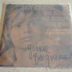 Discos de vinilo: SEVERINE '1ER GRAND PRIX EUROVISION 1971' (UN BANC, UN ABRE, UNE RUE - VIENS) 1971 SINGLE45. Lote 32001955