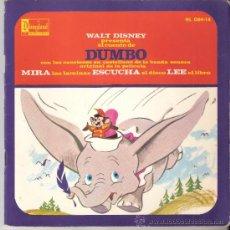 Discos de vinilo: WALT DISNEY.CUENTO DE DUMBO + CANCIONES EN CASTELLANO DE LA PELÍCULA. LIBRO 28 PGS. + DISCO.1970.. Lote 92693095