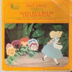 Discos de vinilo: WALT DISNEY.CUENTO DE ALICIA PAIS DE LAS MARAVILLAS.CANCIONES EN CASTELLANO.28 PAGS. + DISCO.1969.. Lote 92693155
