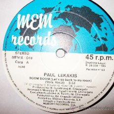 Discos de vinilo: PAUL LEKAKIS - BOOM BOOM LET'S GO BACK TO MY ROOM - 45 RPM - MEM RECORDS. Lote 25142415