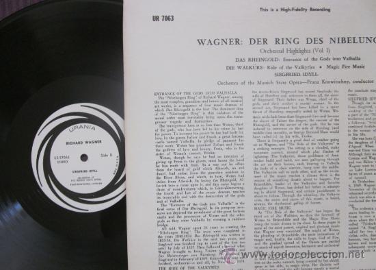 Discos de vinilo: WAGNER - THE RING - KONWITSCHNY - MUNICH STATE OPERA ORCHESTRA - EDITADO EN USA - Como nuevo - Foto 2 - 32164437