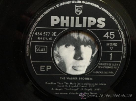 Discos de vinilo: THE WALKER BROTHERS DEADLIER THAN THE MALE +3. EP ESPAÑOL. 1967. - Foto 3 - 32165582