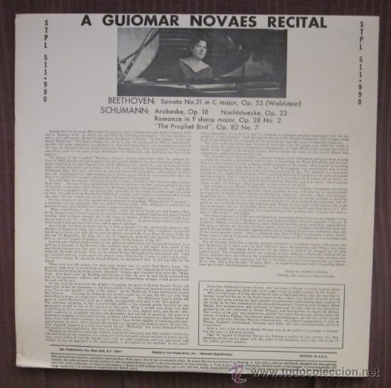 Discos de vinilo: GUIOMAR NOVAES - BEETHOVEN, SCHUMANN - EDITADO EN USA - Excelente estado - Foto 2 - 32172095