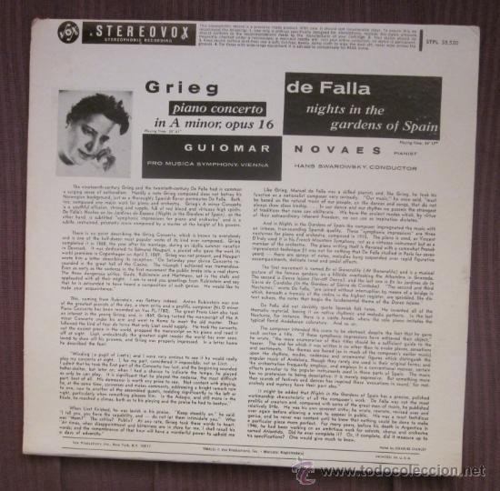 Discos de vinilo: GUIOMAR NOVAES - GRIEG, FALLA (NOCHE EN LOS JARDINES DE ESPAÑA) - EDITADO EN USA - Excelente estado - Foto 2 - 32172138