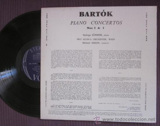 Discos de vinilo: BELA BARTÓK - PIANO CONCERTOS 2 Y 3 - GYÖRGY SÁNDOR - EDITADO EN USA - 1959 - Foto 2 - 32178423