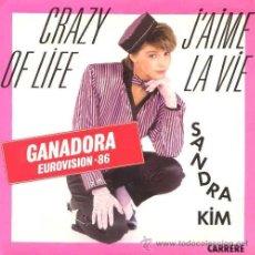Discos de vinilo: SANDRA KIM ··· CRAZY OF LIFE / J'AIME LA VIE - (SINGLE 45 RPM) ··· NUEVO. Lote 32187475