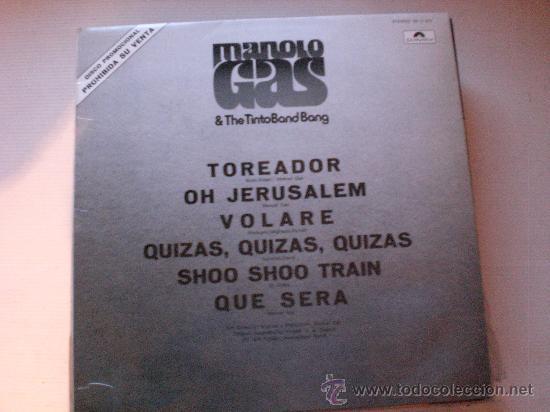 MANOLO GAS & THE TINTO BANG BANG, LP 1976, PROMOCIONA, NUEVO, RARO (Música - Discos de Vinilo - EPs - Grupos Españoles de los 70 y 80)