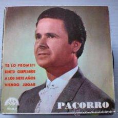 Discos de vinilo: PACORRO, TE LO PROMETI, EP BERTA 1966, SEMINUEVO OFERTA MUY RARO OFERTA. Lote 32362089