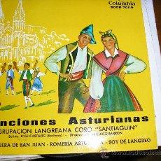 Discos de vinilo: EP ASTURIAS AGRUPACION LANGREANA CORO SANTIAGUIN TEMAS EN CONTRAPORTADA. Lote 32441991