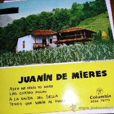 Discos de vinilo: EP ASTURIAS JUANIN DE MIERES TEMAS EN CONTRAPORTADA. Lote 32441999