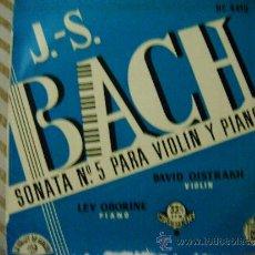 Discos de vinilo: J.S- BACH (SONATA Nº 5 PARA PIANO Y VIOLIN). Lote 32648323
