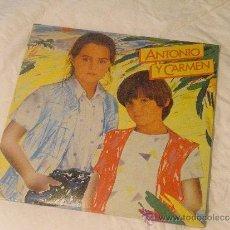 Discos de vinilo: ANTONIO Y CARMEN-SOPA DE AMOR (HIJOS DE ROCIO DURCAL)LP NUEVO. Lote 145119824