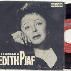 Discos de vinilo: EP 45 RPM / RECUERDO A EDITH PIAF / LA VIDA ROSA // EDITADO ORLADOR 1966 ESPAÑA . Lote 32724205